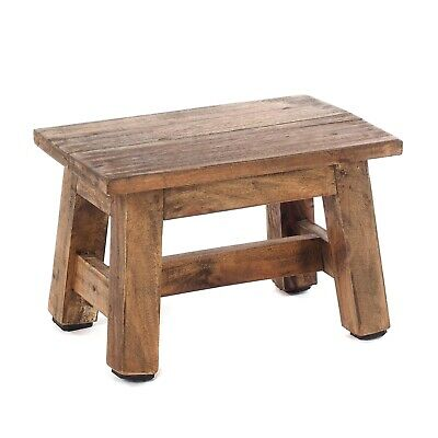 WOODEN STOOL MONTE   recycled wood, mahogany, 30x21x20cm (WxHxD)   footstool