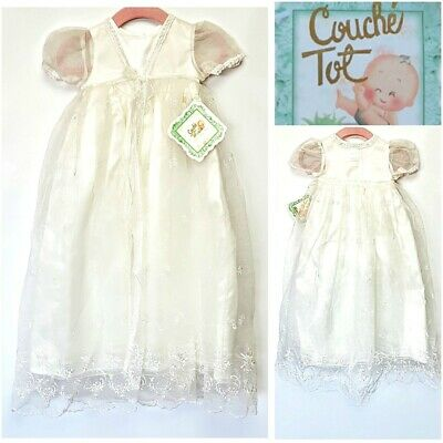Couche Tot Designer Baby Girls 9/12 Months White Christening Dress Rrp 59.00 Gbp