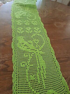 Vintage crochet table topper runner bed runner retro boho lime green