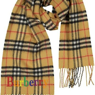 Burberry Childrens Cashmere Signature Check Scarf with Rainbow Embroidered Logo