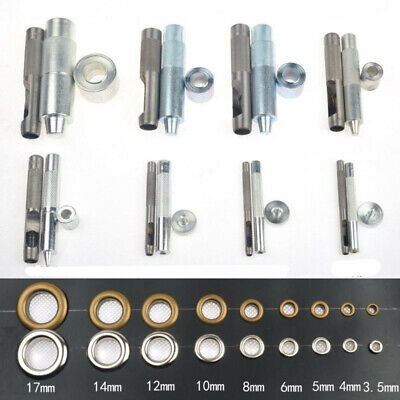 Iron 3mm-17mm Eyelet Punch Die Tool Rod Set For Leather Craft Clothing Grommet #