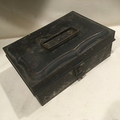Antique 19th c Tin Toleware Six Canister Portable Spice Box