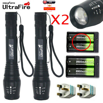 1000000LM T6 LED Rechargeable High Power Torch Flashlight Lamps Light&Charger UK