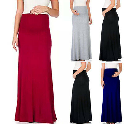 Womens Skirt Ladies Holiday Solid Color Pregnant Stylish Party High Waist Simple