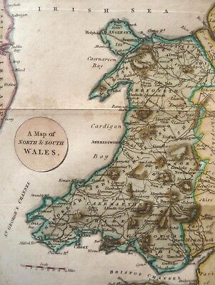 North And South Wales Cardiff Anglesey Kolorierte Kupferstich Karte Feltham 1808