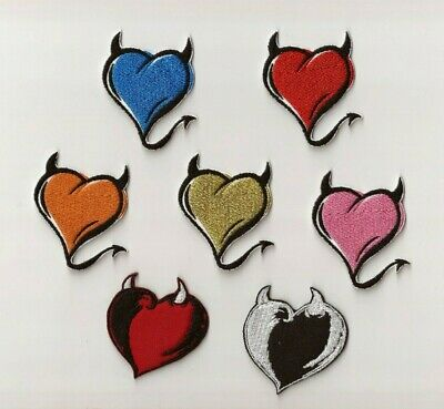Satan Devil Heart Embroidery Sew-On Iron On Applique Patch Diy Clothes Scrapbook
