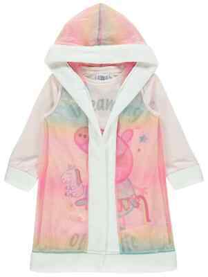 Peppa Pig Rainbow Nightdress and Cape Hooded Gown Robe 1-16 Years