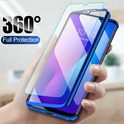 For Xiaomi Redmi Note 8 7 6 Pro 360° Full Protection Case Cover + Tempered Glass