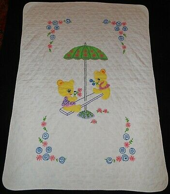 """Vtg Quilted White Yellow Bears BABY Crib BLANKET Nursery Bedspread 56"""" x 42"""""""