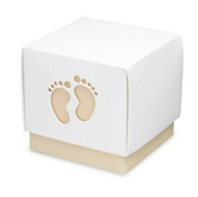 10 COFFEE BABY FOOTPRINT CHOCOLATE /& SWEET BABY SHOWER SQUARE FAVOUR BOXES CRAFT