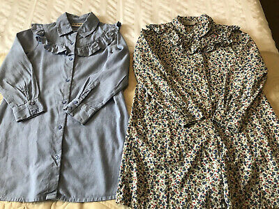 2 X Girls NEXT Blue Chambray And Floral Ruffle Long Line Shirt/ Tunic Age 6 Yrs