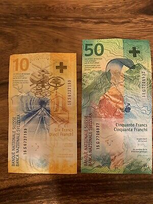 Switzerland 10 And 50 Francs Swiss Banknote. Swiss 60 Francs Circulated. Notes