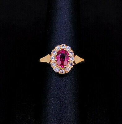 (Wi1) 9ct Gold Ruby & CZ Ring 2.2gms - 2005612-1-A