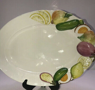 San Marco 15 Inch Ceramic Serving Platter Nove Vegetable Design  Made in Italy
