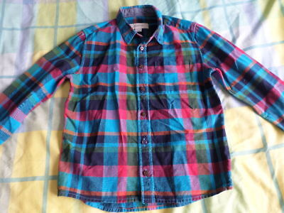 River Island Boys Blue Checked Long Sleeve Shirt Size 7 Years
