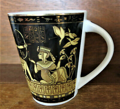 Limoges Fathi Mahmoud Egyptian Sculpture Coffee Mug Cup Black Gold Made in Egypt