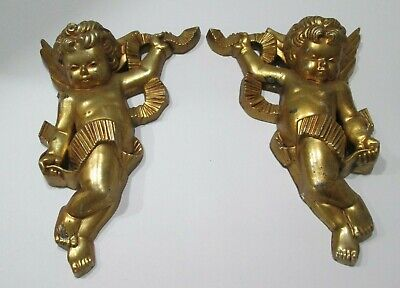 Vintage Antique Lot of 2 Wood Wooden Angel cherub's Gold Painted