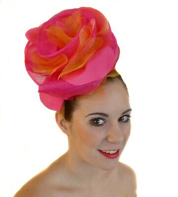 Pink Fuschia Orange Big Flower Fascinator Hat Races Wedding Melbourne Cup
