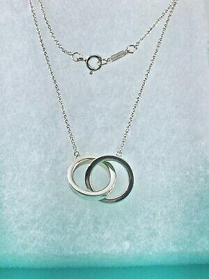 "Tiffany & Co Silver 1837 Interlocking Double Circle Rings 18.5"" Necklace 191028"