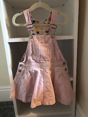 Girls Mini Boden Dungaree Dress, Cord, Spotted, Pink, 2-3 Years