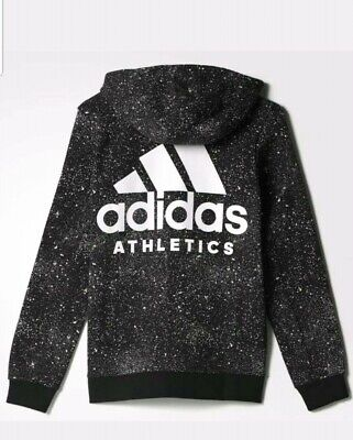 Adidas Junior Boys Girls Track Top Hoodie Sweat Shirt Age 7-8