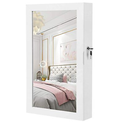 Wall Mounted Jewelry Cabinet with Mirror Lockable Door-Hanging Jewelry Organizer