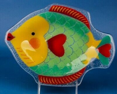 Signed Peggy Karr Fused Glass Fish Plate Green Fish Frolics