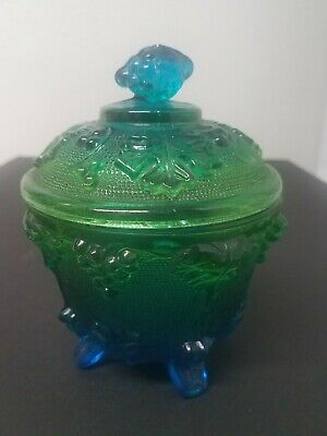 Vintage Depression Blue/Green Glass Ombre Footed Sugar Bowl Candy Dish Grape