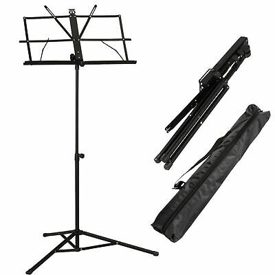 Glarry  Adjustable Folding Music Book Stand  with  Handy Portable Bag Black