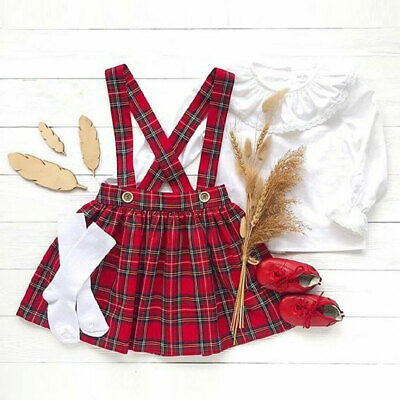 UK New Toddler Baby Girl Kid Top Plaid Strap Skirt Outfit Dress Clothes Set 0-3Y