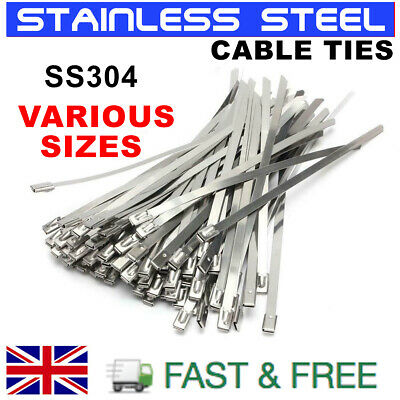 Stainless Steel Metal Cable Ties Zip Wrap Exhaust Heat Straps Induction Pipe Uk