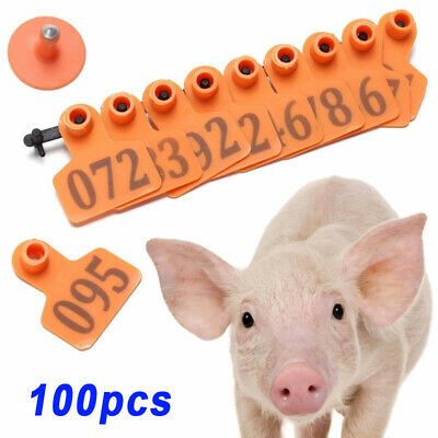 100pcs/Set Number Animals Ear Tag Cattle Goat Pig Sheep Livestock Labels Orange