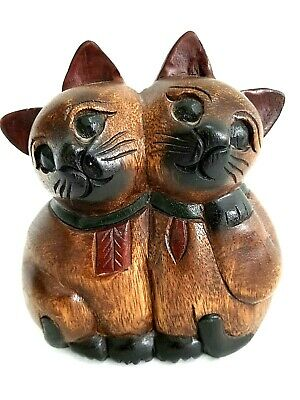 CATS~Hand Carved Hugging Cats~One of a Kind~Statue~Wood Door Stop~Thailand Wood
