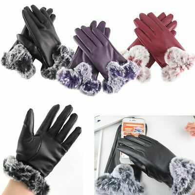 Gloves Women's Genuine Lambskin Leather Winter Warm Lining Thermal Touch Screen