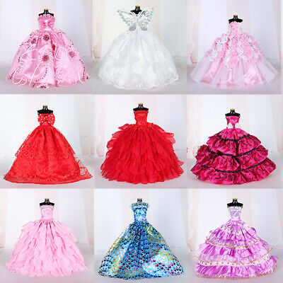 10PCS Handmade Wedding Party Gown Dresses Clothes for Doll Random Color/Style