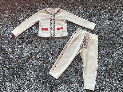 Very Good Condition - Monnalisa Gold & Leopard Tracksuit - Age 3 Years 36 Months