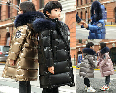 Kids Girls Boys Winter Fur Hooded Long Down Jackets Outwears Hoodies Coats Parka