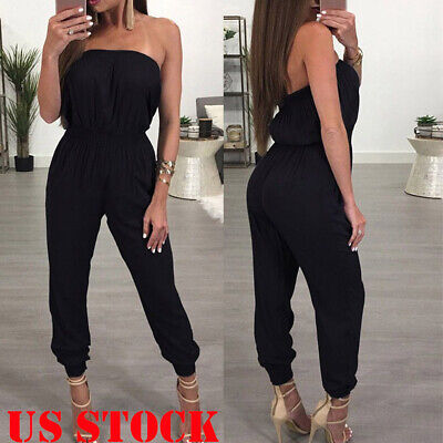 Women's Off Shoulder Playsuit Bodycon Sleeveless Jumpsuit Romper Long Trousers