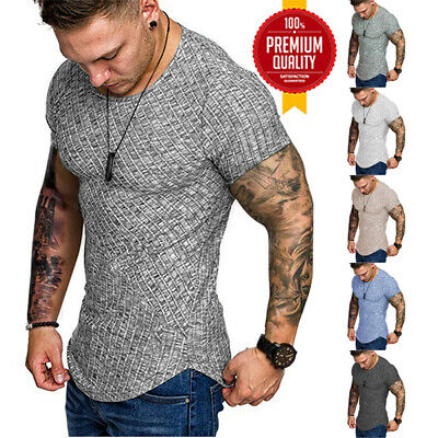 Mens Slim Fit Short Sleeve V Neck Tops Blouse Summer T Shirt Casual Muscle Tee