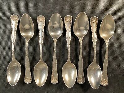 Set 8 Antique Tiffany & Co Sterling Silver Wave Edge Spoons 6""