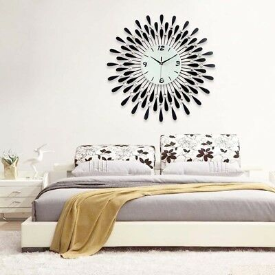New Stylish 60Cm Black Diamante Beaded Jeweled Round Sunburst Metal Wall Clock