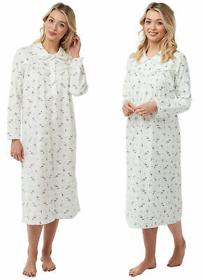 Ladies 100% Brushed Cotton Wincyette Nightdresses By Marlon Pink or Blue Flowers