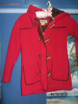 girls duffel coat Regatta 5-6 yrs soft fleece and lined pink hood washable comfy
