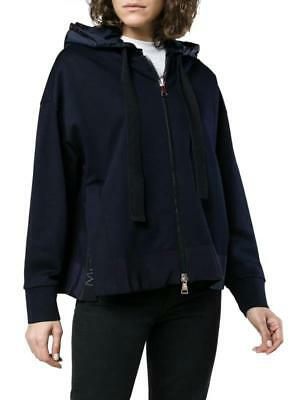 New Moncler Ladies Current Navy Blue Logo Slit Hoodie Zipper Jacket M/Medium