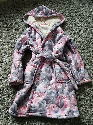 M&S Bunnies And Roses Thick Fleece Robe Pink Grey Teddy Lining Warm Age 5-6