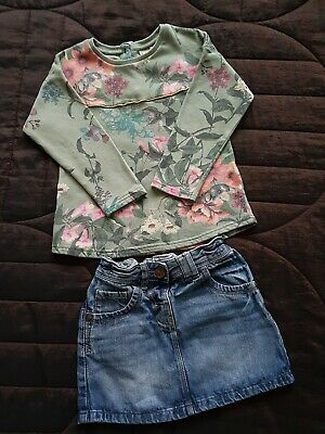 Girls Next Floral Jumper And Skirt 2-3 Years