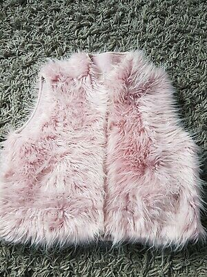 Monsoon Gilet Age 3-4 Years Pink Faux Fur Padded Warm Soft