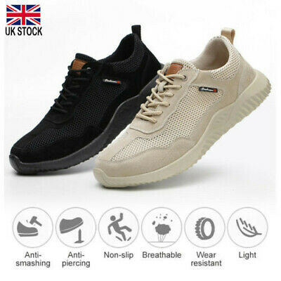 Uk Safety Shoes For Women Men Steel Toe Trainers Lightweight Work Shoes Sports