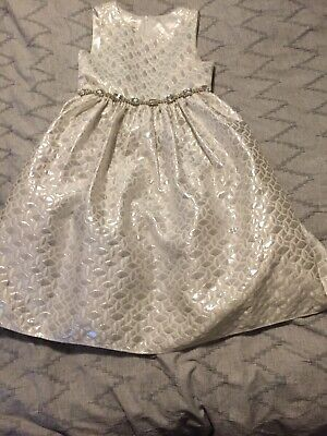 Couture Princess dress Aged 7 Jewel Embellished Cream / Silver Jacquard Shiny
