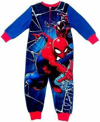 Kids Spiderman Fleece All In One Sleepsuit Pyjamas Pjs Nightwear Boys Gift